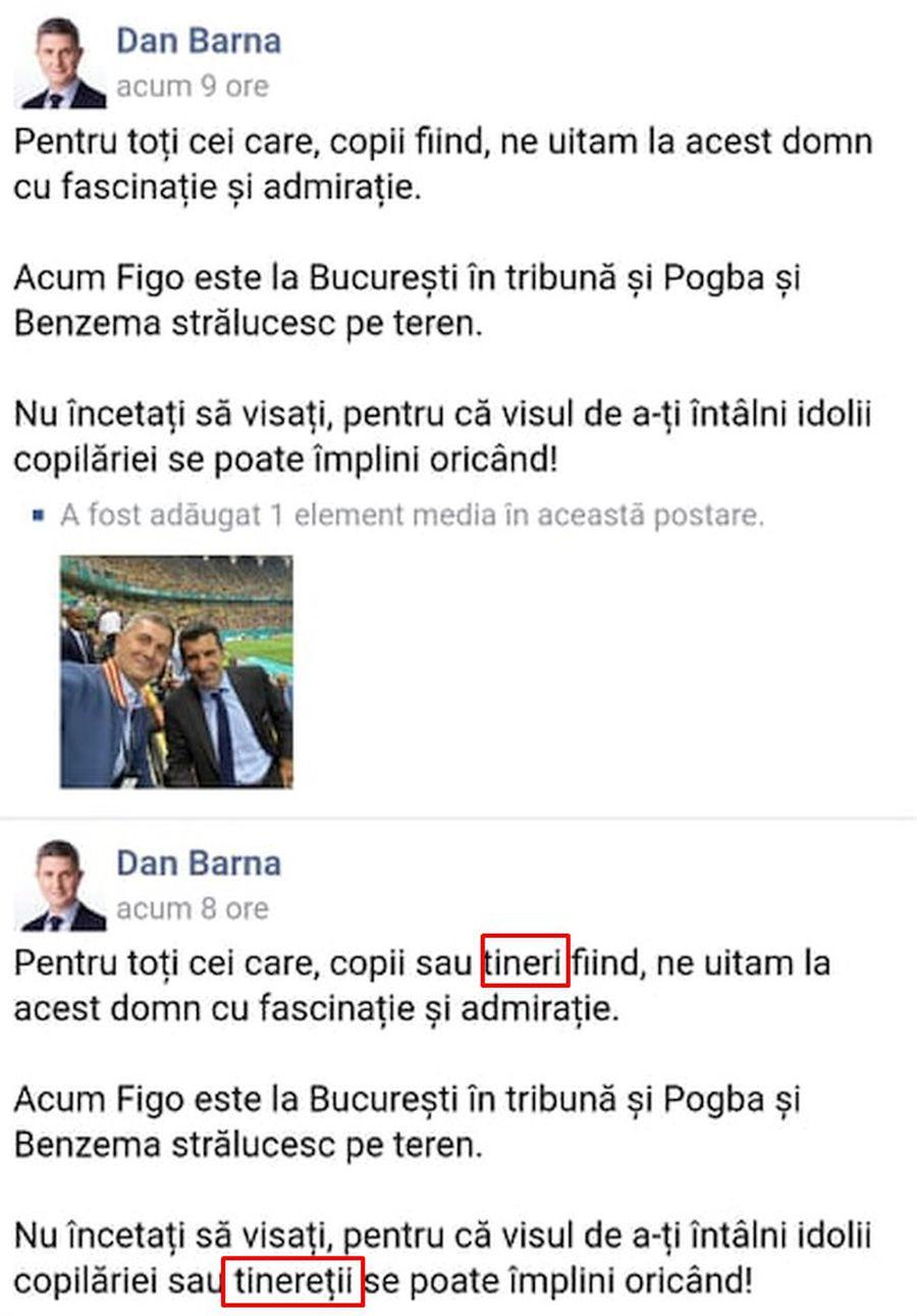 """Dan Barna, ironizat după ce s-a fotografiat la tribuna oficială cu Luis Figo: """"Hagi și Gică Popescu tot la tribuna a doua sunt?"""""""