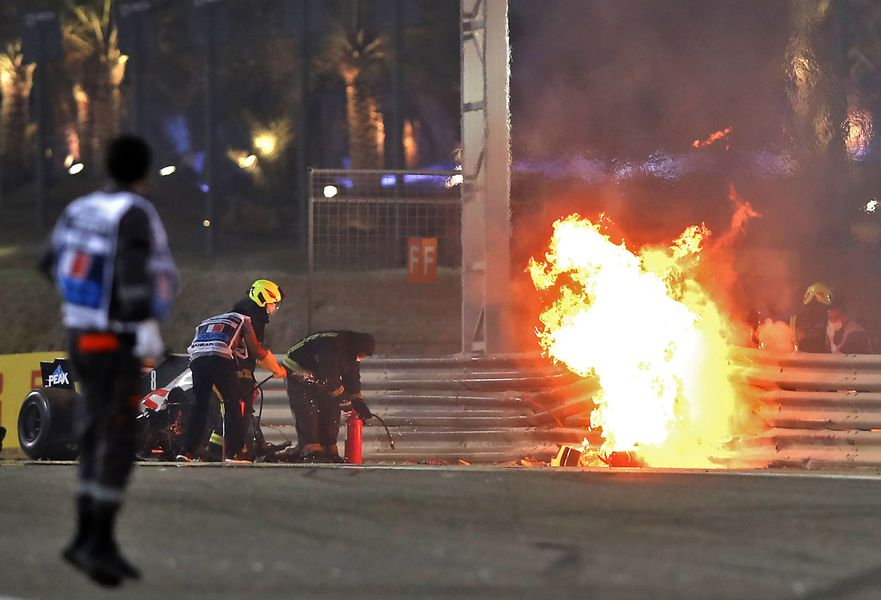 Accident - Mașina lui Romain Grosjean a luat foc. 29.11.2020