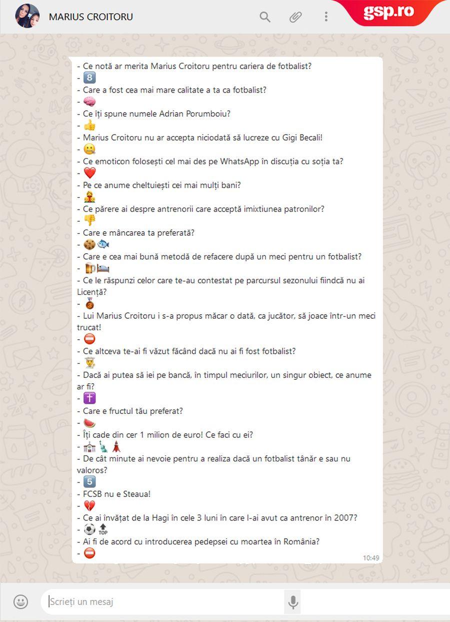 WhatsApp Q&A » Marius Croitoru intră în provocarea GSP: cum răspunde cu un emoticon la întrebări și afirmații inedite