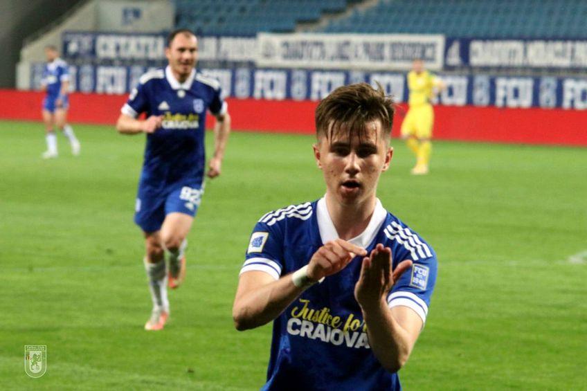 Alexandru Blidar (18 ani) a marcat golul de 3-1, primul al lui în tricoul lui FC U Craiova. Sursa foto: facebook