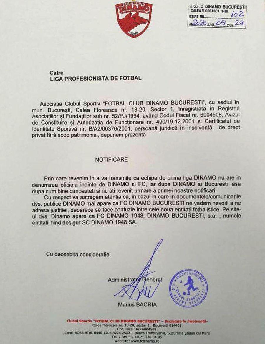Notificarea trimisă de Nicolae Badea către LPF