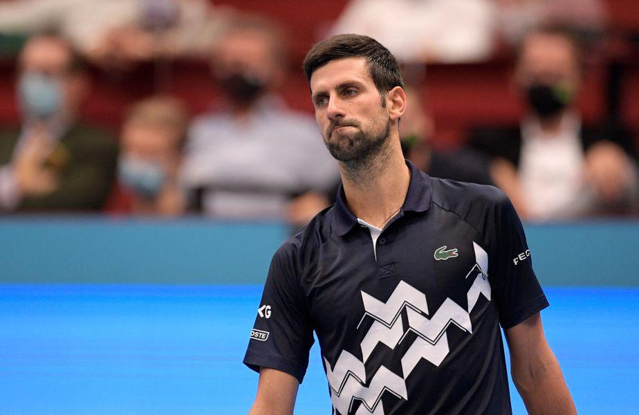 Novak Djokovic (33 de ani, 1 ATP) a fost eliminat în sferturile Erste Bank Open, de la Viena, de italianul Lorenzo Sonego (25 de ani, 42 ATP), scor 2-6, 1-6.