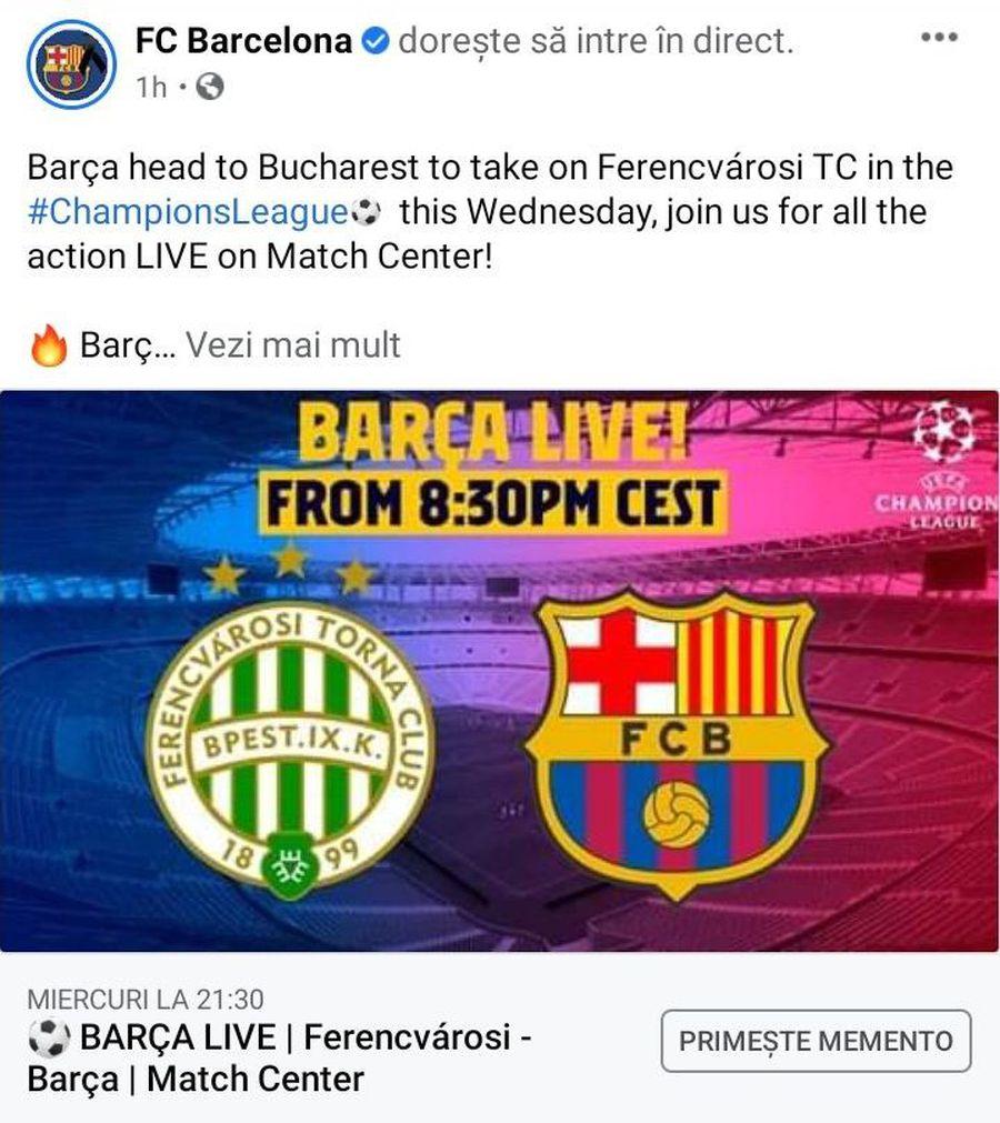 """Între timp, Barcelona a editat postarea, iar """"Bucharest"""" a fost înlocuit cu """"Budapest"""""""