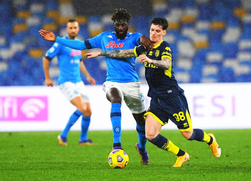 Napoli  - Parma, faza golului din prima repriză. Foto: Guliver/GettyImages