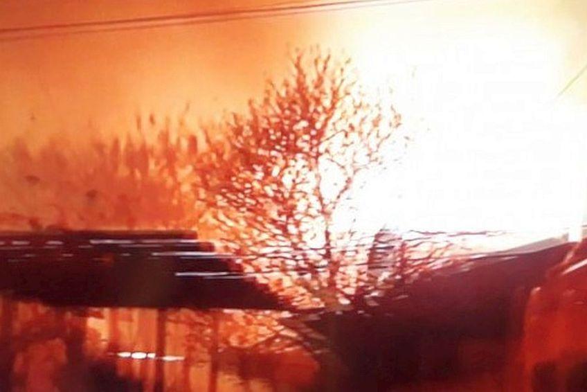 Incendiu la baza FCSB de la Berceni // FOTO: Captură Antena 1