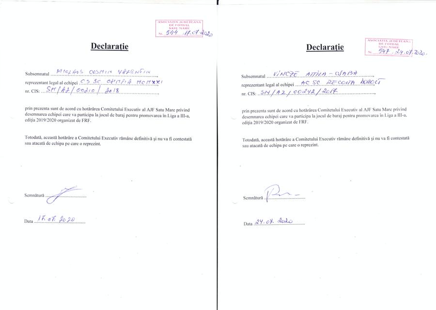 Dovezile invocate de Szilagyi. Două din cele trei declarații date de cluburi pentru a acoperi AFJ-ul