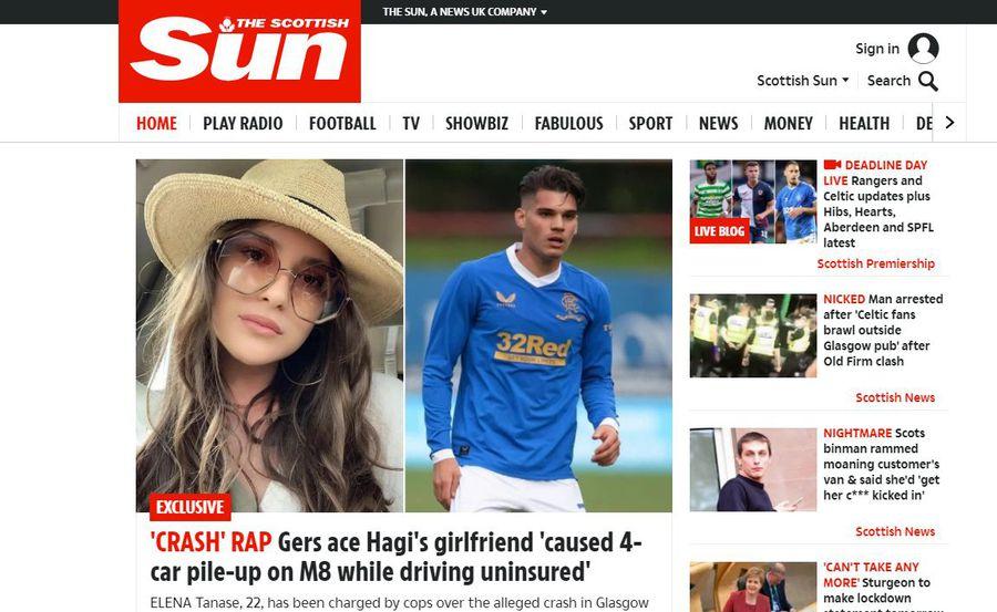Presa scoțiană susține că Elena Tănase, iubita lui Ianis Hagi, ar fi provocat un accident rutier în apropiere de Glasgow! 4 mașini implicate și o persoană rănită